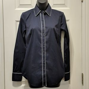 Ann Taylor Navy Oxford Top, NWT, Sz 0